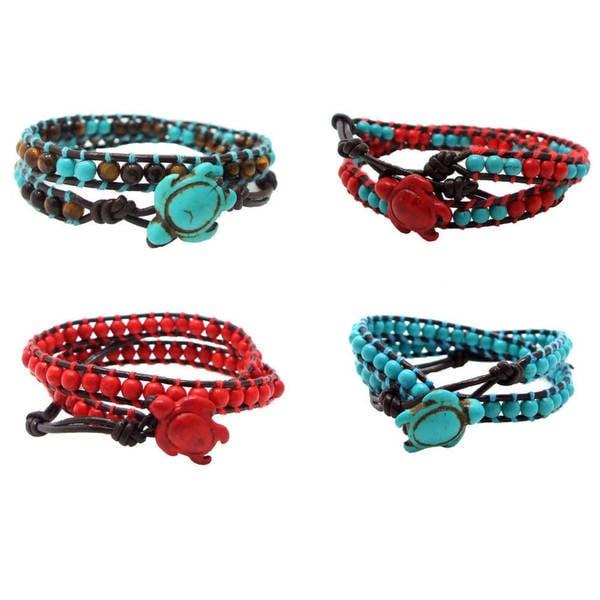 Handmade Timeless Ocean Sea Turtle Stone Double Wrap Bracelet (Thailand)