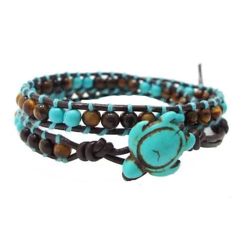 Handmade Timeless Ocean Turtle Stone Double Wrap Bracelet (Thailand)