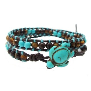 Handmade Timeless Ocean Turtle Stone Double Wrap Bracelet (Thailand) (4 options available)