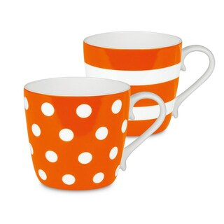 Konitz Mugs Dots and Stripes, Set of 2 (Option: Orange)