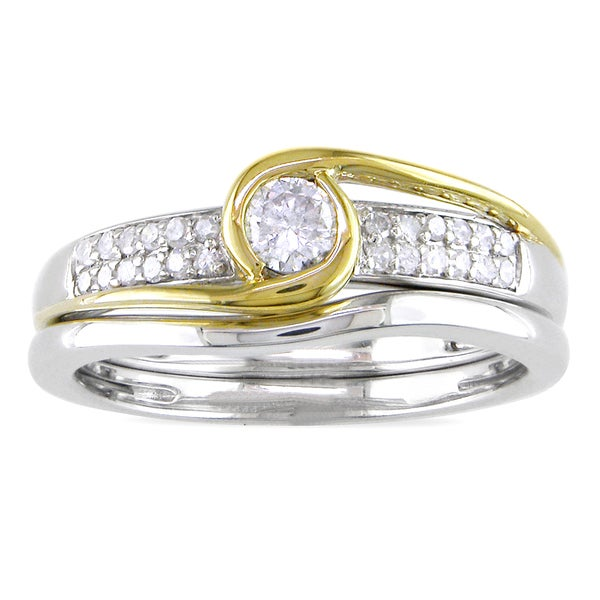 Miadora 14k Two-tone Gold 1/4ct TDW Diamond Bridal Ring Set (G-H, I1-I2)