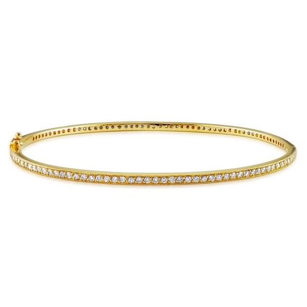 Miadora 14k Yellow Gold 1 1/6ct TDW Diamond Bangle