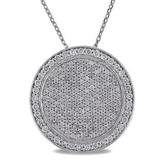 Miadora 14k White Gold 1ct TDW Diamond Pave Disc Necklace (G-H, SI1-SI2)