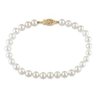 Miadora 14k Yellow Gold White Cultured Akoya Pearl Bracelet (5-5.5 mm)|https://ak1.ostkcdn.com/images/products/7594754/7594754/Miadora-14k-Yellow-Gold-White-Akoya-Pearl-Bracelet-5-5.5-mm-P15019845.jpeg?impolicy=medium