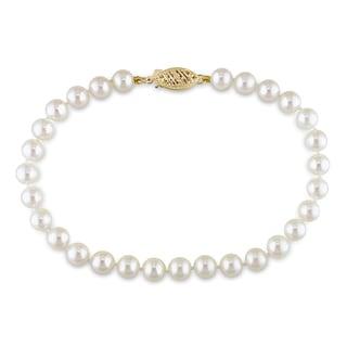 Miadora 14k Yellow Gold White Cultured Akoya Pearl Bracelet (5-5.5 mm)
