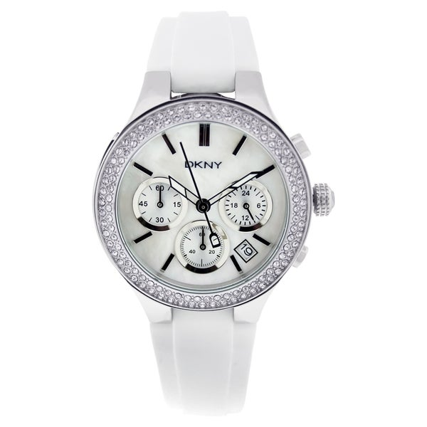 DKNY Women's NY8196 'Chambers' Chronograph Stainless Steel and Rubber Watch