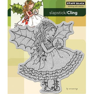 "Penny Black Cling Rubber Stamp 5""X6""-Fairy Holly"