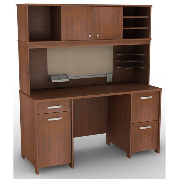 Bush Furniture Envoy Collection Double Pedestal Desk and Hutch