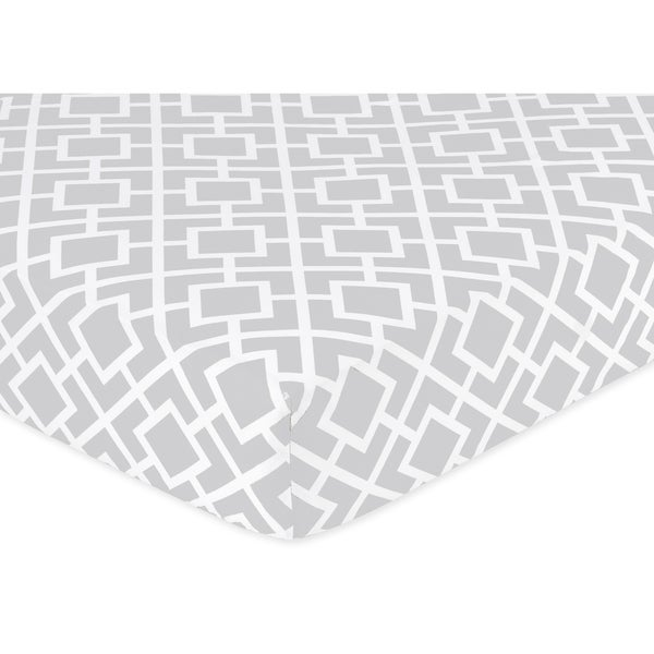Sweet JoJo Designs Grey and White Fitted Crib Sheet. Opens flyout.