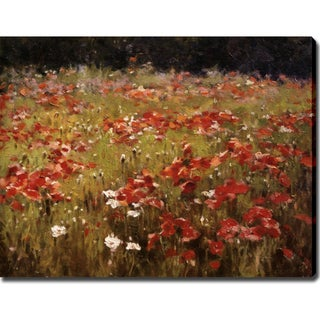 'Field of Red Flowers' Gallery-wrapped Canvas Art