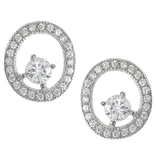 Journee Collection Sterling Silver Cubic Zirconia Oval Stud Earrings
