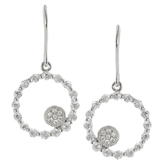 Journee Collection Sterling Silver Cubic Zirconia Round Dangle Earrings