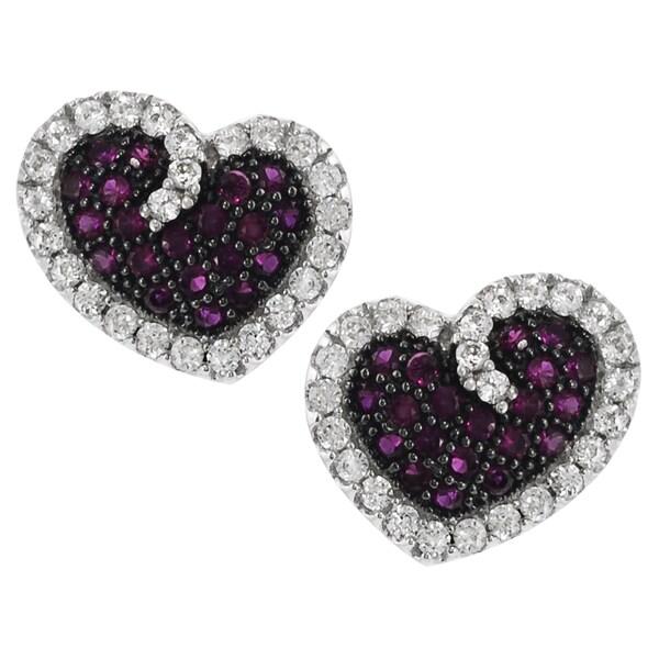 Journee Collection Sterling Silver Cubic Zirconia Heart Stud Earrings