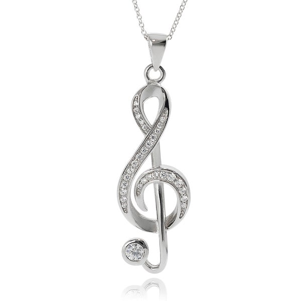 Journee Sterling Silver Cubic Zirconia Musical Note Pendant