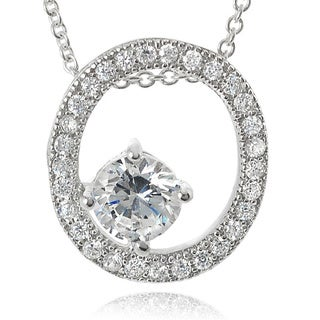 Journee Collection Sterling Silver Cubic Zirconia Oval Pendant