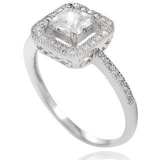 Journee Collection Sterling Silver Square-cut Cubic Zirconia Bridal Engagement Ring