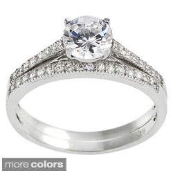 Journee Collection Sterling Silver Round-cut Cubic Zirconia Bridal and Engagement Ring