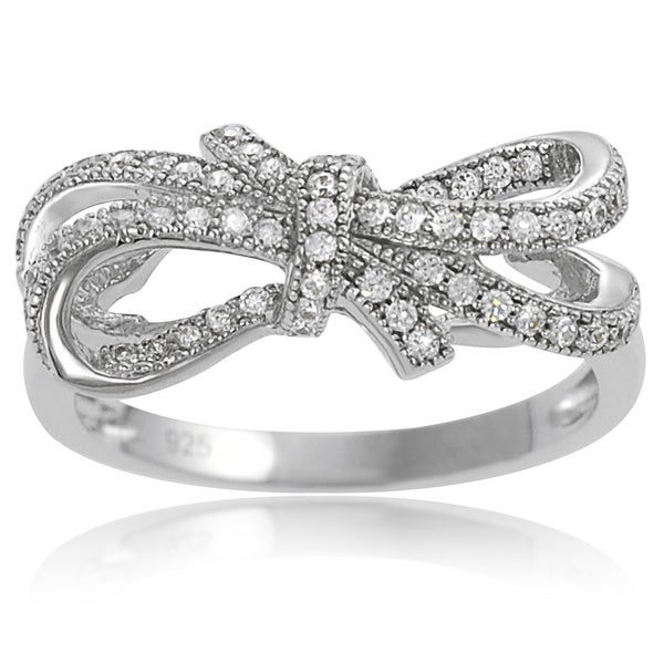 Journee Collection Sterling Silver Cubic Zirconia Double Bow Ring