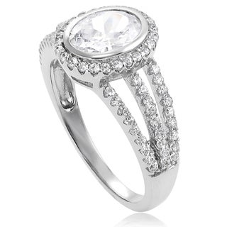 Journee Collection Sterling Silver Oval-cut Cubic Zirconia Bridal Ring