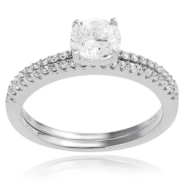 Journee Collection Sterling Silver Round-cut Cubic Zirconia Bridal Ring
