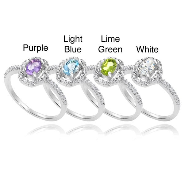 Sterling Silver Fashion Ring Lime Green CZ Ring