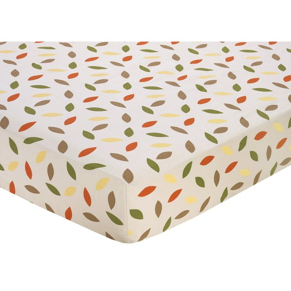 Sweet JoJo Designs Leaf Print Fitted Crib Sheet