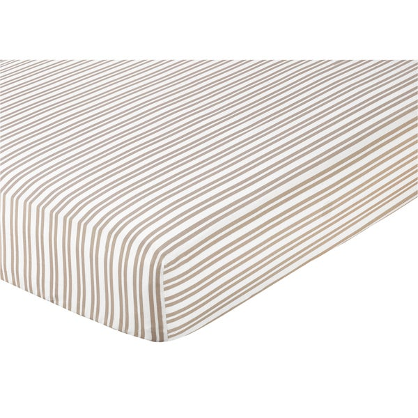 Shop Sweet Jojo Designs Taupe Striped Fitted Crib Sheet