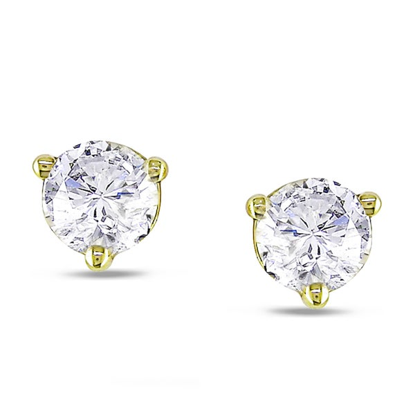 Miadora 18k Yellow Gold 1/2ct TDW Diamond Stud Earrings (G-H, SI1-SI2)