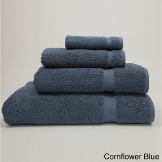 Authentic Hotel and Spa Herringbone Weave Turkish Cotton 4-piece Towel Set with Bath Sheet