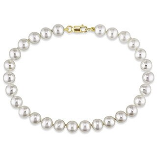 Miadora 14k Yellow Gold White Cultured Freshwater Pearl Bracelet (5-6 mm)