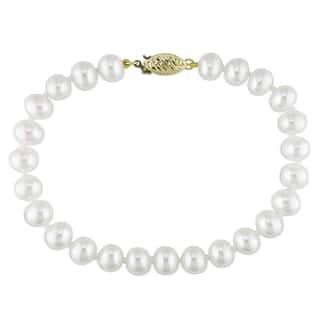 Miadora 14k Yellow Gold White Cultured Freshwater Pearl Bracelet (6.5-7 mm)|https://ak1.ostkcdn.com/images/products/7594922/7594922/Miadora-14k-Yellow-Gold-White-Pearl-Bracelet-6.5-7-mm-P15019985.jpeg?impolicy=medium