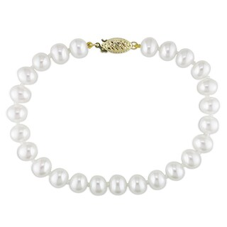 Miadora 14k Yellow Gold White Cultured Freshwater Pearl Bracelet (6.5-7 mm)
