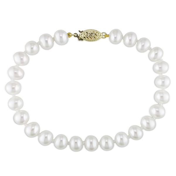 Miadora 14k Yellow Gold White Cultured Freshwater Pearl Bracelet (6.5-7 mm)