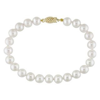 Miadora 14k Yellow Gold White Cultured Freshwater Pearl Bracelet (7-7.5 mm)