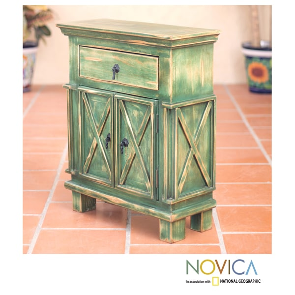 Handcrafted Pinewood 'Antique Green Crisscross' Nightstand (Mexico)