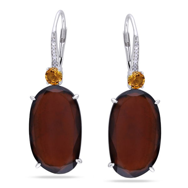 Miadora Sterling Silver Garnet, Citrine and Diamond Earrings