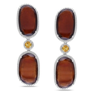 Miadora Sterling Silver Garnet and Citrine Dangle Earrings