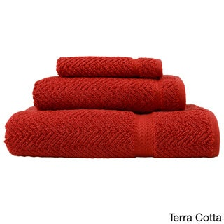 Authentic Hotel and Spa Herringbone Weave Turkish Cotton 3-piece Towel Set