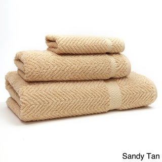 Authentic Hotel and Spa Herringbone Weave Turkish Cotton 3-piece Towel Set (Option: Sand)