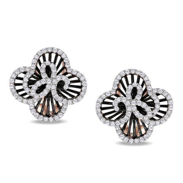 Miadora 14k Rose Gold 3/5ct TDW Diamond Flower Earrings (G-H, I1-I2)