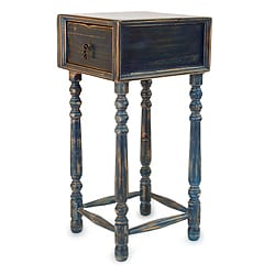Handcrafted Pinewood 'Arandas Blue' Accent Table (Mexico)