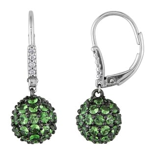 Miadora 14k White Gold Tsavorite and Diamond Accent Earrings
