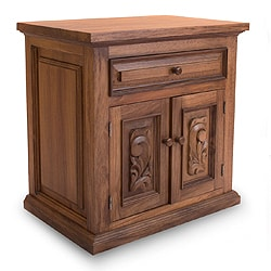 Colonial Ranch One Drawer with Doors Living or Bedroom Carved Polished Rich Full Grain Brown Parota Wood Side Cabinet (Mexico)