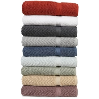 Authentic Hotel and Spa Herringbone Weave Turkish Cotton Bath Towel (Set of 2)