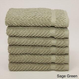 Authentic Hotel and Spa Herringbone Weave Turkish Cotton Washcloth (Set of 6)