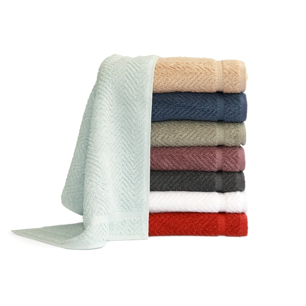 Authentic Hotel and Spa Herringbone Weave Turkish Cotton Washcloth (Set of 6)