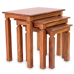 Set of 3 Parota Wood 'Hacienda' Nesting Tables (Mexico)