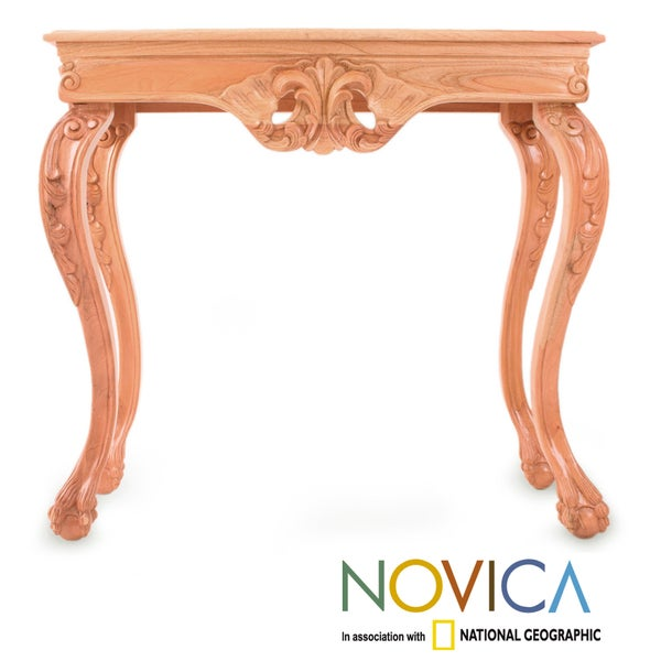 Handcrafted Cedar Wood 'Mexican Renaissance' Console Table (Mexico)
