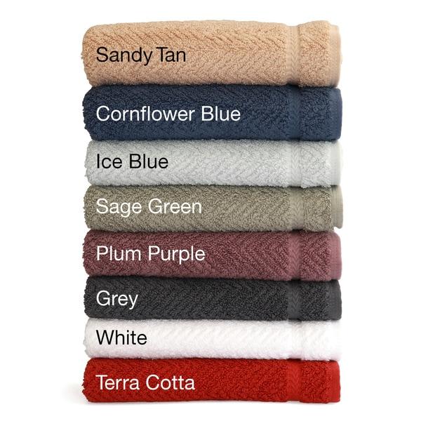 Authentic Hotel and Spa Herringbone Weave Turkish Cotton Hand Towel (set of 4)