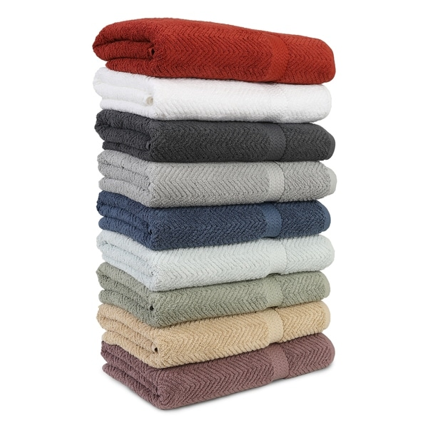 Authentic Hotel and Spa Herringbone Weave Turkish Cotton Hand Towel (set of 4)